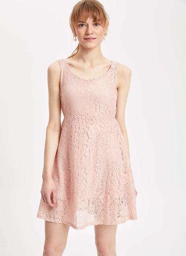 DeFacto Kalın Askılı Dantel Detaylı Örme Elbise Pembe